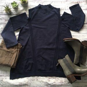 Open Shoulder Mock Turtleneck Sweater Tunic
